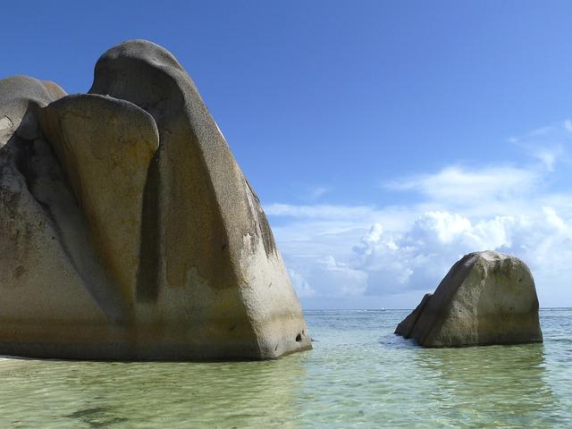 Beach, Rock, Ocean, Water, Clouds, Landscape, Mauritius