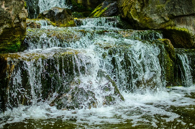 Waterfall, Water, Moss, Stone, River, Landscape