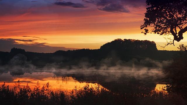 Sunset, Lake, Fog, Water, Mirroring, Clouds, Orange