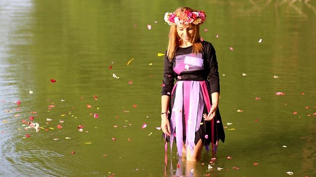 Girl, Blonde, Wreath, Water, Petals, Joy, Nature