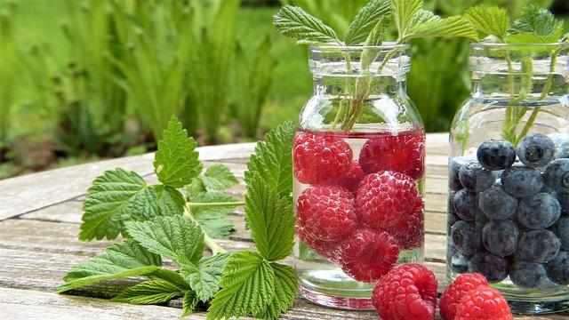 Water, Fruits, Raspberries, Blueberries
