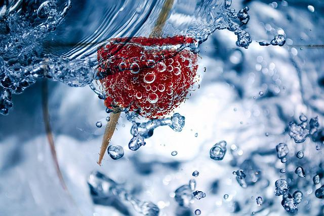 Raspberry, Toothpick, Glass, Water, Air Bubbles, Liquid