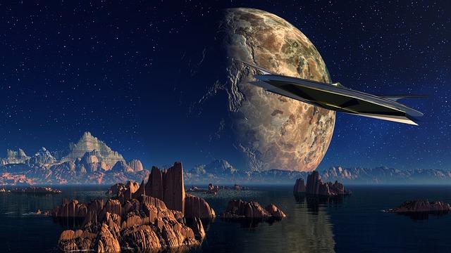 Landscape, Water, Rock, Spaceship, Planet