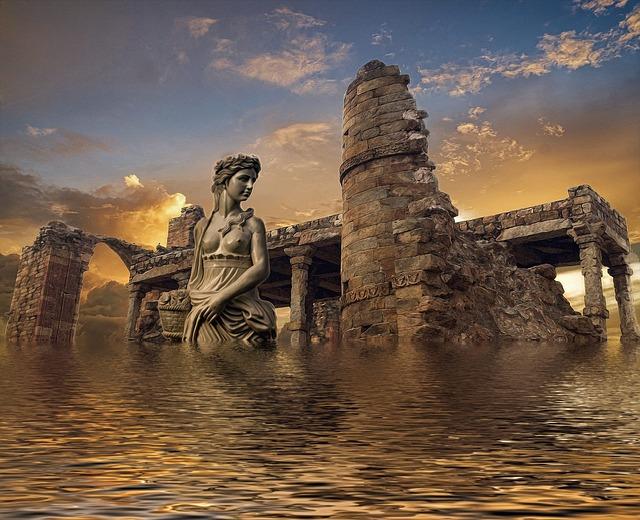 Atlantis, Sea, Ruins, Water, Underwater, Landscape