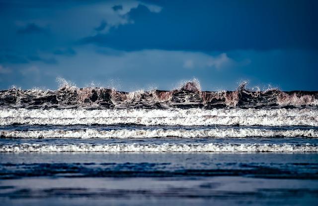Sea, Ocean, Water, Sky, Clouds, Waves, Crashing
