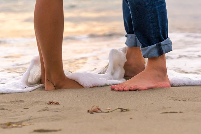 Sand, Beach, Barefoot, Seashore, Foot, Water, Waves
