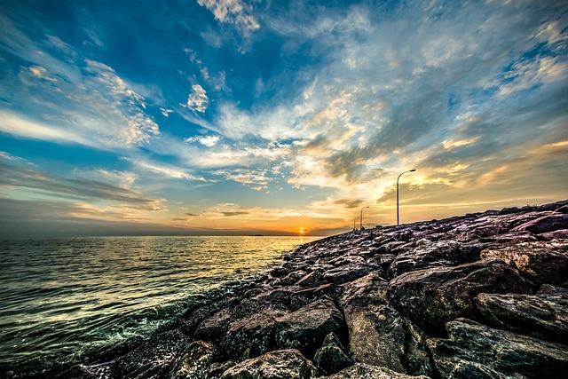 Sky, Sunset, Sea, Nature, Water, Seaside, Cloudy