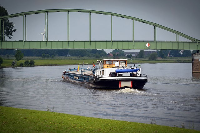 Barge, River, Ship, Water, Transport, Shipping