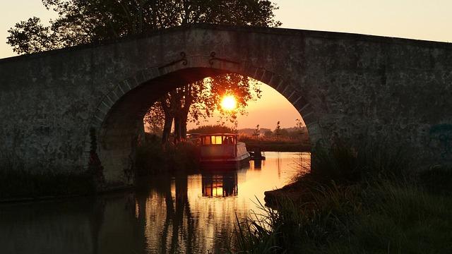 Sunrise, Bridge, Canal Du Midi, Landscape, Water, Sky