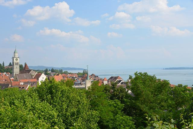 überlingen, Lake Constance, City, Sky, Lake, Sun, Water