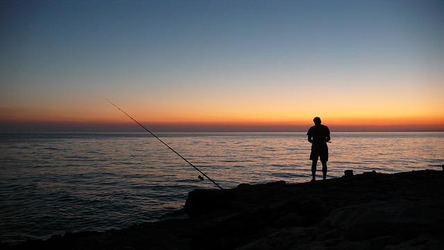 Sunset, Sea, Angler, Sun, Abendstimmung, Water, Red
