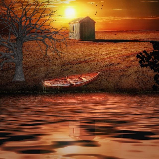 Hut, Sunset, Sky, Sun, Lighting, Water, Lake, Tree