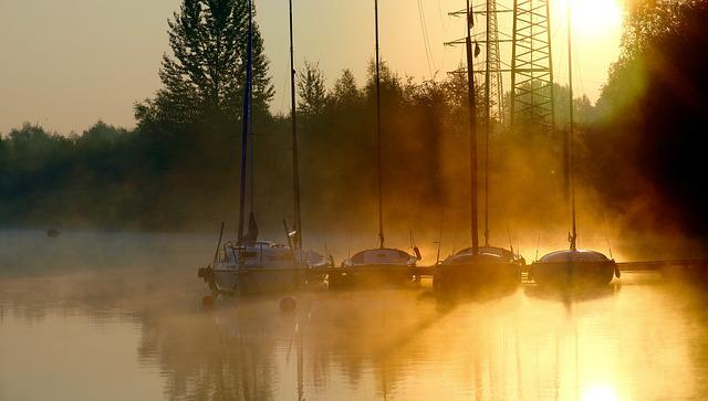 Sunrise, Phoenix Lake, Dortmund, Boats, Water, Jetty