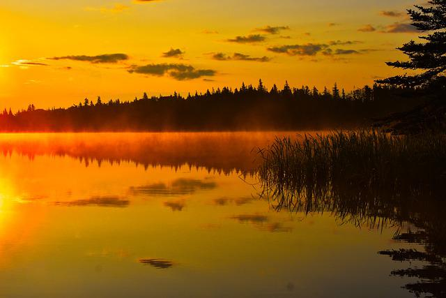 Canada, Lake, Ocean, Sunset, Sunrise, Water