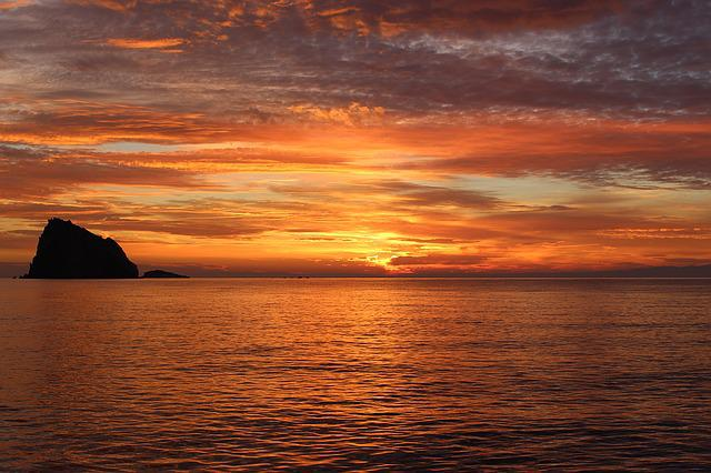 Sunset, Sea, Afterglow, Water