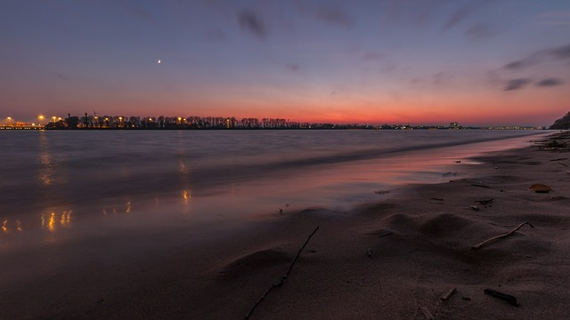 Elbe, Water, Beach, Sunset, River, Afterglow, Bank