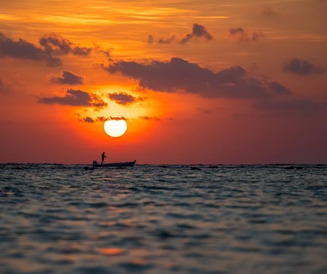 Sunset, Sun, Dawn, Water, Sea
