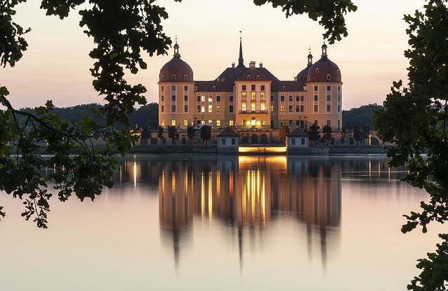 Sunset, Water, Dresden, Moritz Castle