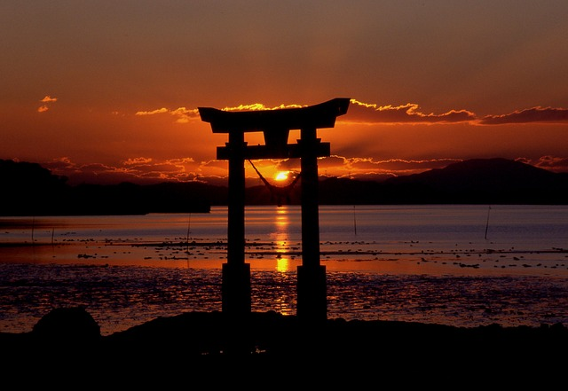 Sunset, Shrine, Sea, Sky, Nagao Shrine, Water, Light