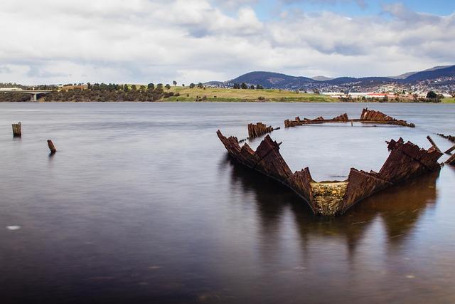 Shipwreck, Water, River, Tasmania, Ship, Beach, Coast