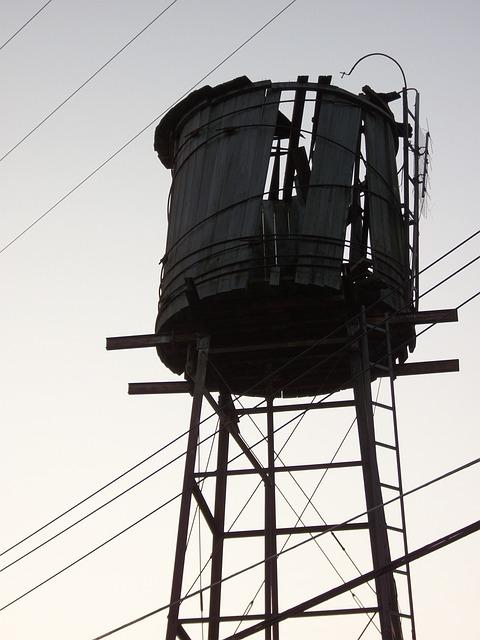 Water Tower, Dawn, Power Lines, Old, Wooden, Broken