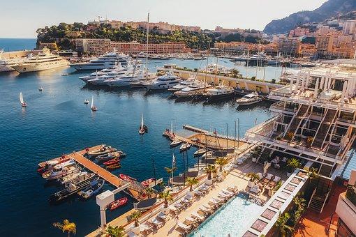Monaco, Bay, Harbor, Water, Ships, Mountains, Vacation