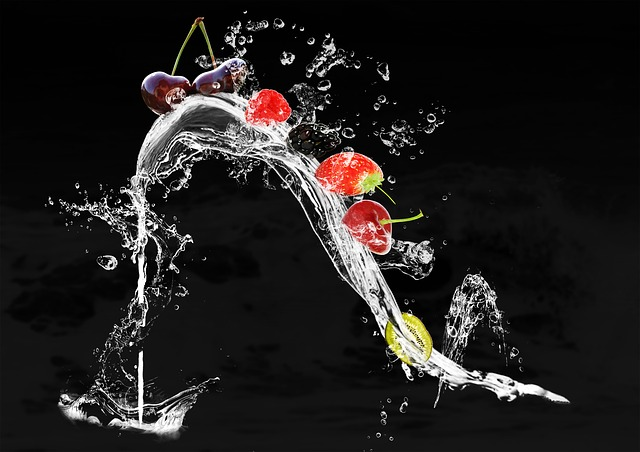 Food Photography, Shoe, Fruits, Water Splashes, Water
