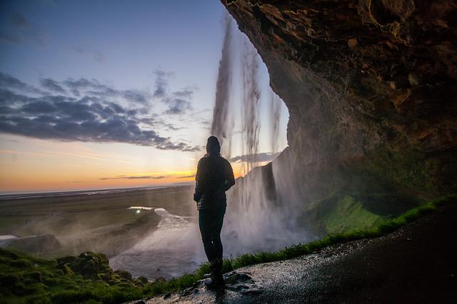 Mist, Nature, Outdoors, Person, Water, Waterfall
