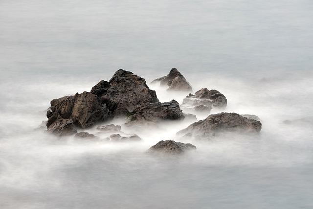 Mountain, Rock, Peak, Clouds, Sea, Wave, Water, Travel