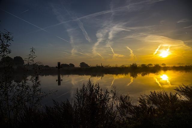 Sun, Hefst, Water, Cold, Netherlands, Winter, Freeze