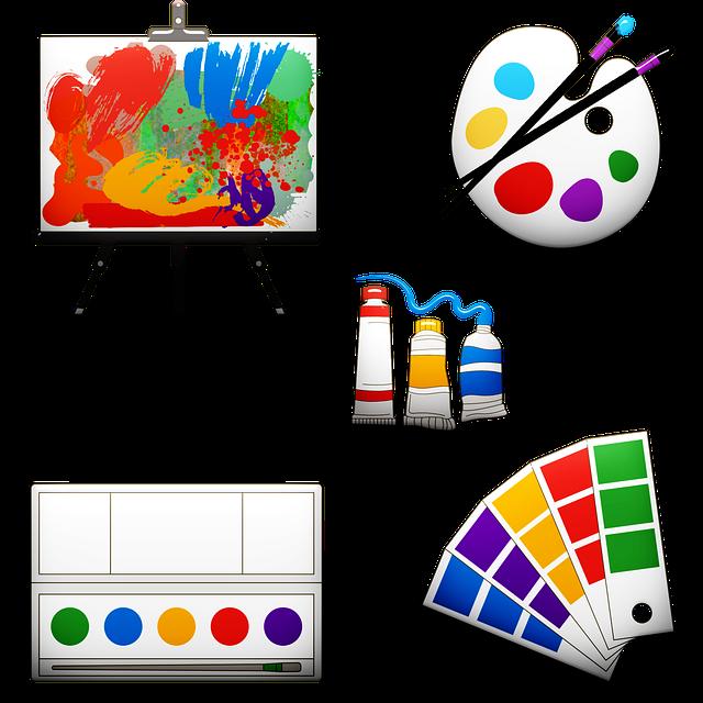 Art Supplies, Easel, Pallette, Paints, Watercolor