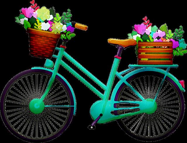 Watercolor Bicycle, Bicycle, Bike, Flowers, Vintage