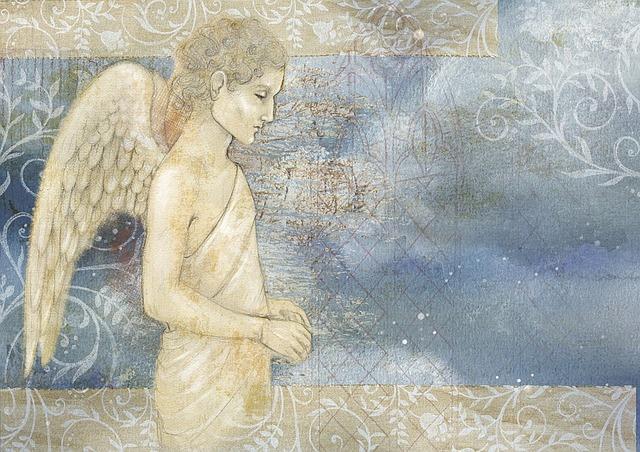 Angel, Background, Clouds, Watercolor, Wings, Sky