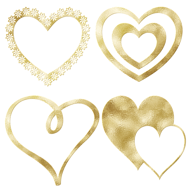 Gold Foil Hearts, Glitter, Watercolor, Cardstock, Heart