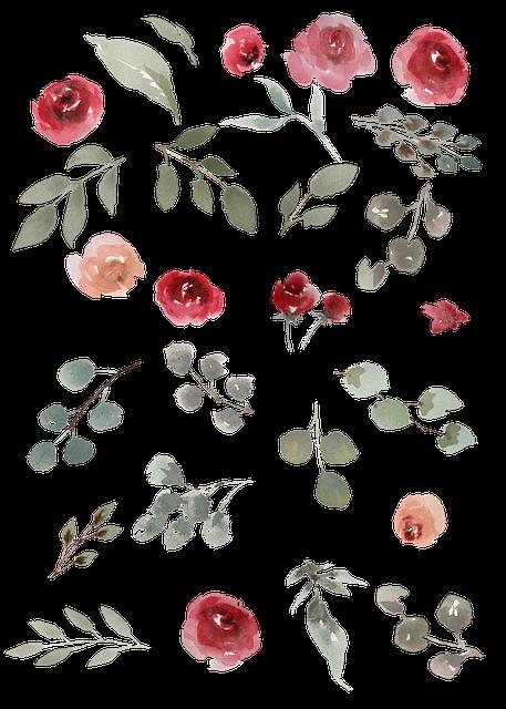 Watercolor, Watercolor Roses, Green Leaves, Leaves