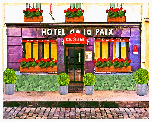 Watercolor, French Building, Hotel, Hotel De La Paix