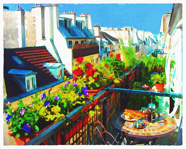 Watercolor Paris Balcony, Paris, France, Breakfast