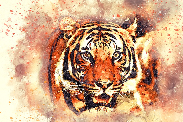 Tiger, Portrait, Art, Abstract, Watercolor, Vintage