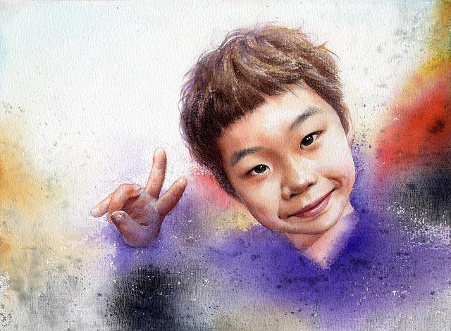 Watercolor Portrait, Boyportrait, Figure, Smile, Art