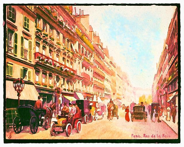 Vintage Paris, Watercolor, Rue De La Paix, 1920s
