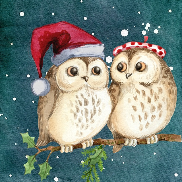 Merry Christmas, Owls, Watercolor, Card, Winter, Snow