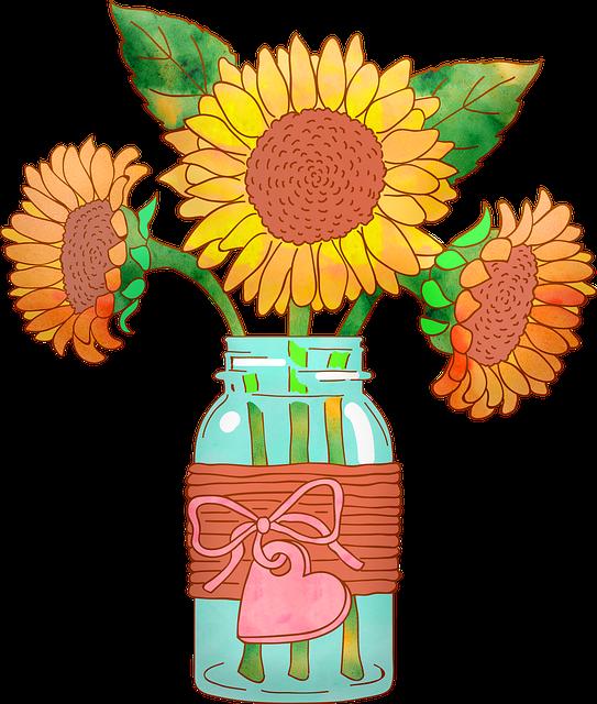 Watercolor, Sunflowers In Vase, Mason Jar, Sunflower