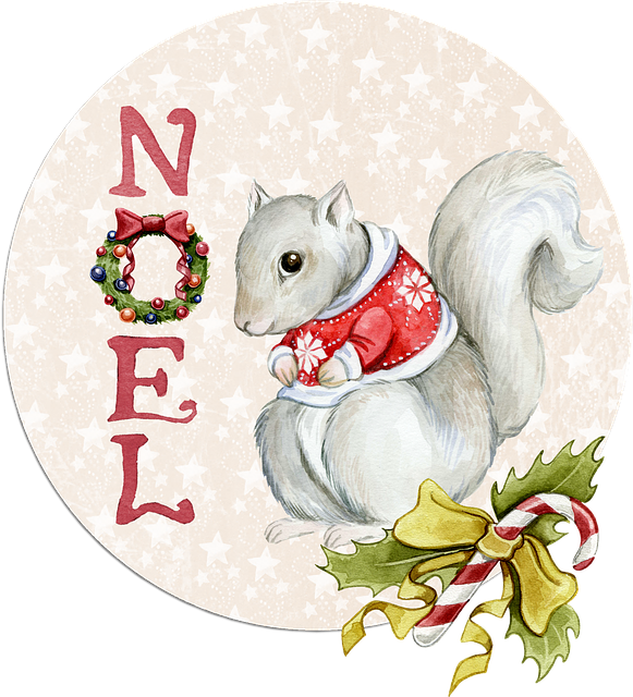 Noel, Squirrel, Watercolor, Tag, Christmas, Merry