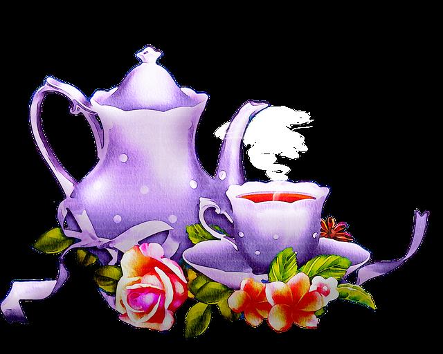 Watercolor Tea Set, Tea, Floral, Lavender, Kitchen