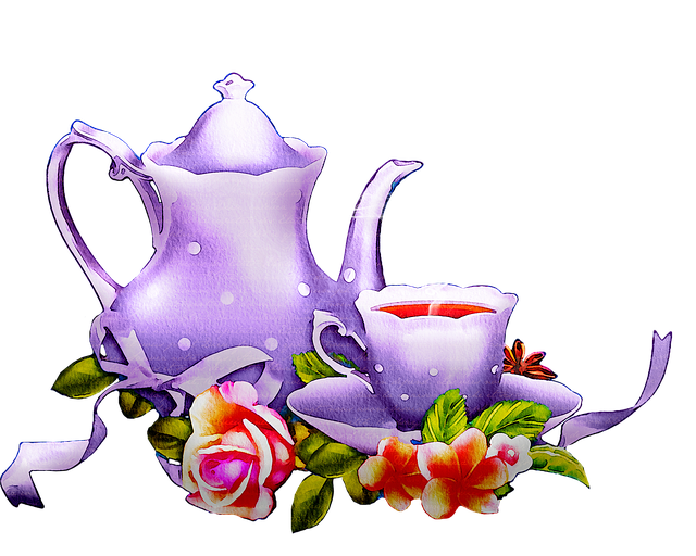 Watercolor Tea Set, Tea, Floral, Lavender, Kitchen