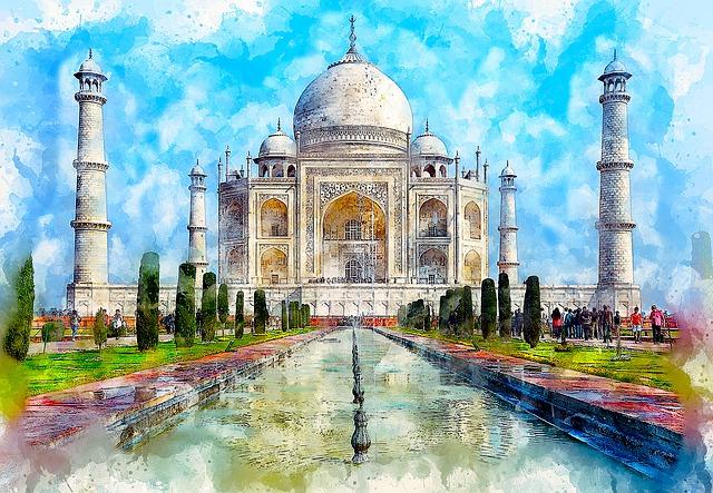 Taj Mahal, Monument, Marble, Art, Watercolor, Tourism