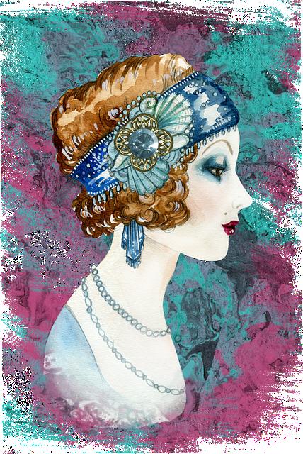 Twenties, Woman, Art Deco, Watercolor, Pastel, Face