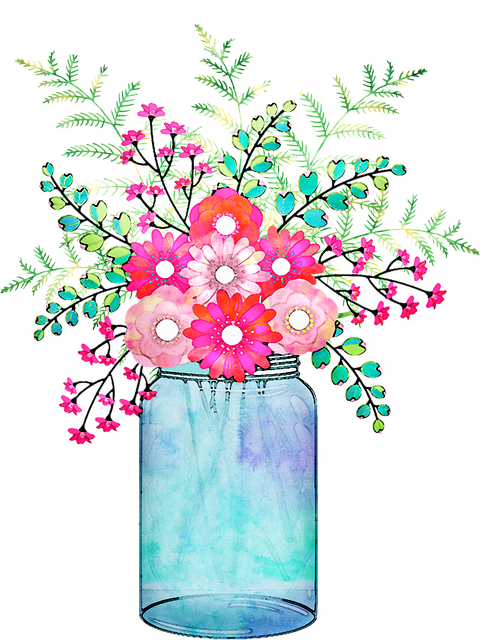Watercolor Floral, Vase, Mason Jar, Pink, Watercolor