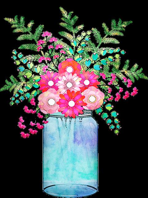 Watercolor Floral, Vase, Mason Jar, Pink, Watercolor