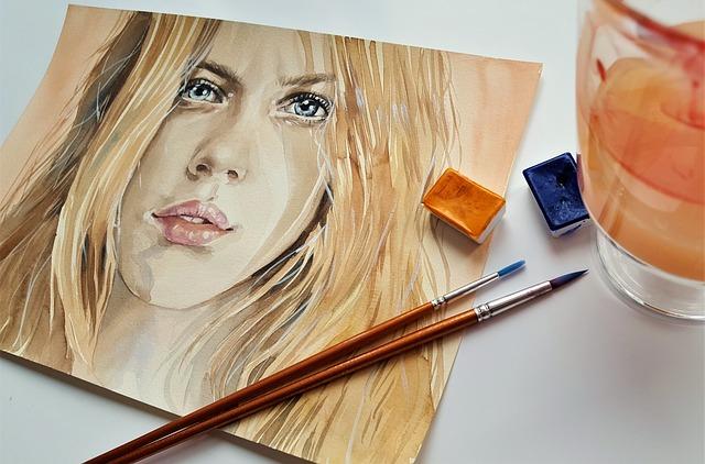 Art, Painting, Watercolor, Portrait, Woman, Colors